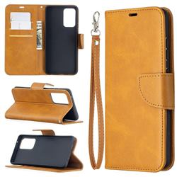 Classic Sheepskin PU Leather Phone Wallet Case for Samsung Galaxy A52 (4G, 5G) - Yellow