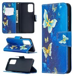 Golden Butterflies Leather Wallet Case for Samsung Galaxy A52 (4G, 5G)