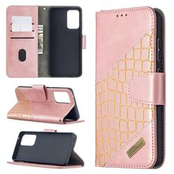 BinfenColor BF04 Color Block Stitching Crocodile Leather Case Cover for Samsung Galaxy A52 (4G, 5G) - Rose Gold