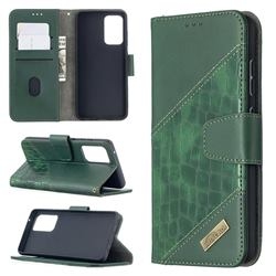 BinfenColor BF04 Color Block Stitching Crocodile Leather Case Cover for Samsung Galaxy A52 (4G, 5G) - Green