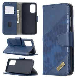 BinfenColor BF04 Color Block Stitching Crocodile Leather Case Cover for Samsung Galaxy A52 (4G, 5G) - Blue
