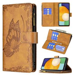 Binfen Color Imprint Vivid Butterfly Buckle Zipper Multi-function Leather Phone Wallet for Samsung Galaxy A52 (4G, 5G) - Brown