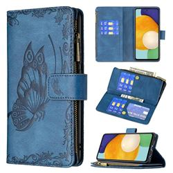 Binfen Color Imprint Vivid Butterfly Buckle Zipper Multi-function Leather Phone Wallet for Samsung Galaxy A52 (4G, 5G) - Blue
