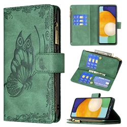 Binfen Color Imprint Vivid Butterfly Buckle Zipper Multi-function Leather Phone Wallet for Samsung Galaxy A52 (4G, 5G) - Green