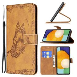 Binfen Color Imprint Vivid Butterfly Leather Wallet Case for Samsung Galaxy A52 (4G, 5G) - Brown