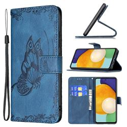 Binfen Color Imprint Vivid Butterfly Leather Wallet Case for Samsung Galaxy A52 (4G, 5G) - Blue