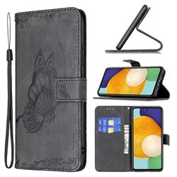 Binfen Color Imprint Vivid Butterfly Leather Wallet Case for Samsung Galaxy A52 (4G, 5G) - Black