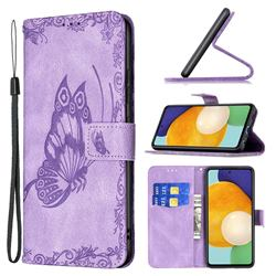 Binfen Color Imprint Vivid Butterfly Leather Wallet Case for Samsung Galaxy A52 (4G, 5G) - Purple
