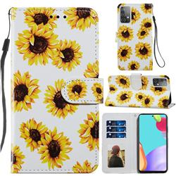 Sunflower Smooth Leather Phone Wallet Case for Samsung Galaxy A52 (4G, 5G)