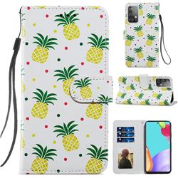 Pineapple Smooth Leather Phone Wallet Case for Samsung Galaxy A52 (4G, 5G)