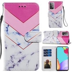Smoke Marble Smooth Leather Phone Wallet Case for Samsung Galaxy A52 (4G, 5G)
