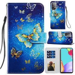 Phnom Penh Butterfly Smooth Leather Phone Wallet Case for Samsung Galaxy A52 (4G, 5G)