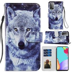 White Wolf Smooth Leather Phone Wallet Case for Samsung Galaxy A52 (4G, 5G)
