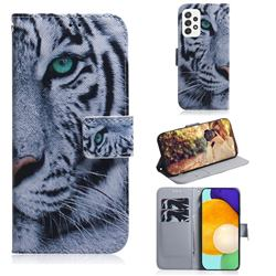 White Tiger PU Leather Wallet Case for Samsung Galaxy A52 (4G, 5G)