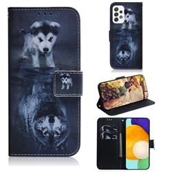 Wolf and Dog PU Leather Wallet Case for Samsung Galaxy A52 (4G, 5G)