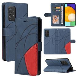 Luxury Two-color Stitching Leather Wallet Case Cover for Samsung Galaxy A52 (4G, 5G) - Blue