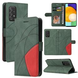 Luxury Two-color Stitching Leather Wallet Case Cover for Samsung Galaxy A52 (4G, 5G) - Green