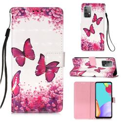 Rose Butterfly 3D Painted Leather Wallet Case for Samsung Galaxy A52 (4G, 5G)