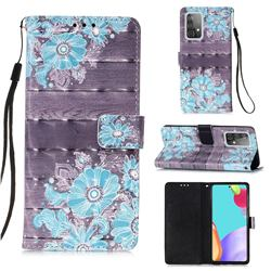 Blue Flower 3D Painted Leather Wallet Case for Samsung Galaxy A52 (4G, 5G)
