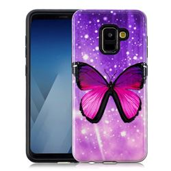 Glossy Butterfly Pattern 2 in 1 PC + TPU Glossy Embossed Back Cover for Samsung Galaxy A8 2018 A530