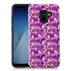 Lotus Flower Pattern 2 in 1 PC + TPU Glossy Embossed Back Cover for Samsung Galaxy A8 2018 A530