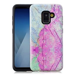 Pink Marble Pattern 2 in 1 PC + TPU Glossy Embossed Back Cover for Samsung Galaxy A8 2018 A530