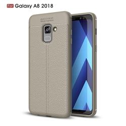 Luxury Auto Focus Litchi Texture Silicone TPU Back Cover for Samsung Galaxy A8 2018 A530 - Gray