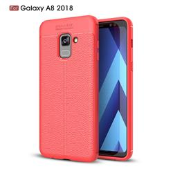 Luxury Auto Focus Litchi Texture Silicone TPU Back Cover for Samsung Galaxy A8 2018 A530 - Red