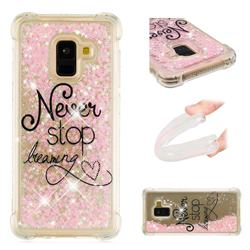 Never Stop Dreaming Dynamic Liquid Glitter Sand Quicksand Star TPU Case for Samsung Galaxy A8 2018 A530