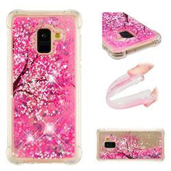 Pink Cherry Blossom Dynamic Liquid Glitter Sand Quicksand Star TPU Case for Samsung Galaxy A8 2018 A530