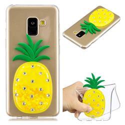 Yellow Pineapple Liquid Quicksand Soft 3D Cartoon Case for Samsung Galaxy A8 2018 A530