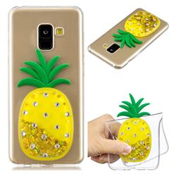 Gold Pineapple Liquid Quicksand Soft 3D Cartoon Case for Samsung Galaxy A8 2018 A530