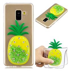 Green Pineapple Liquid Quicksand Soft 3D Cartoon Case for Samsung Galaxy A8 2018 A530