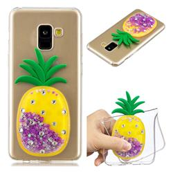 Purple Pineapple Liquid Quicksand Soft 3D Cartoon Case for Samsung Galaxy A8 2018 A530