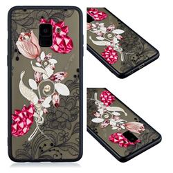 Tulip Lace Diamond Flower Soft TPU Back Cover for Samsung Galaxy A8 2018 A530
