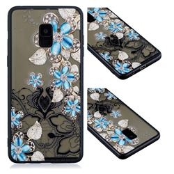 Lilac Lace Diamond Flower Soft TPU Back Cover for Samsung Galaxy A8 2018 A530