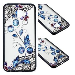 Butterfly Lace Diamond Flower Soft TPU Back Cover for Samsung Galaxy A8 2018 A530