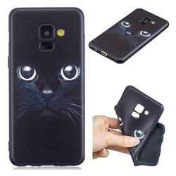 Bearded Feline 3D Embossed Relief Black TPU Cell Phone Back Cover for Samsung Galaxy A8 2018 A530