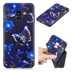 Phnom Penh Butterfly 3D Embossed Relief Black TPU Cell Phone Back Cover for Samsung Galaxy A8 2018 A530