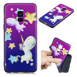 Pony 3D Embossed Relief Black TPU Cell Phone Back Cover for Samsung Galaxy A8 2018 A530
