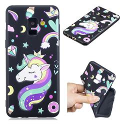 Candy Unicorn 3D Embossed Relief Black TPU Cell Phone Back Cover for Samsung Galaxy A8 2018 A530