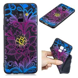 Colorful Lace 3D Embossed Relief Black TPU Cell Phone Back Cover for Samsung Galaxy A8 2018 A530