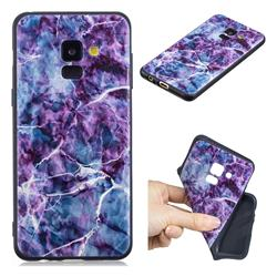 Marble 3D Embossed Relief Black TPU Cell Phone Back Cover for Samsung Galaxy A8 2018 A530