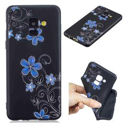 Little Blue Flowers 3D Embossed Relief Black TPU Cell Phone Back Cover for Samsung Galaxy A8 2018 A530