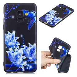 Blue Butterfly 3D Embossed Relief Black TPU Cell Phone Back Cover for Samsung Galaxy A8 2018 A530