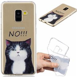 Cat Say No Clear Varnish Soft Phone Back Cover for Samsung Galaxy A8 2018 A530