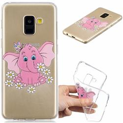 Tiny Pink Elephant Clear Varnish Soft Phone Back Cover for Samsung Galaxy A8 2018 A530