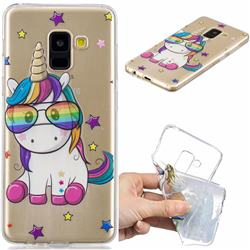 Glasses Unicorn Clear Varnish Soft Phone Back Cover for Samsung Galaxy A8 2018 A530