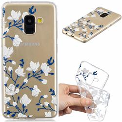 Magnolia Flower Clear Varnish Soft Phone Back Cover for Samsung Galaxy A8 2018 A530
