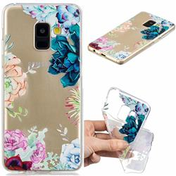 Gem Flower Clear Varnish Soft Phone Back Cover for Samsung Galaxy A8 2018 A530